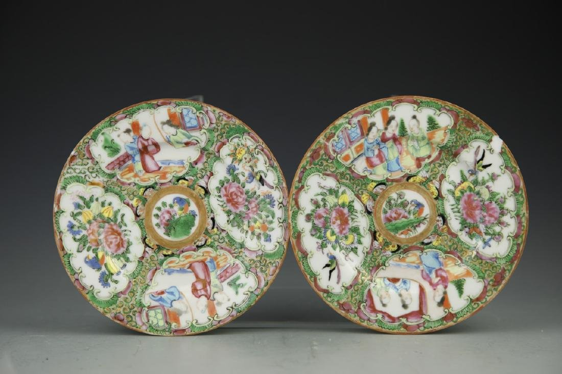Pair Of Chinese Rose Medallion Plates - 3