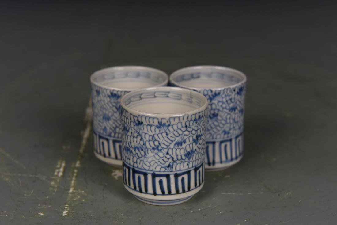 Three Japanese Blue and White Tea Cups