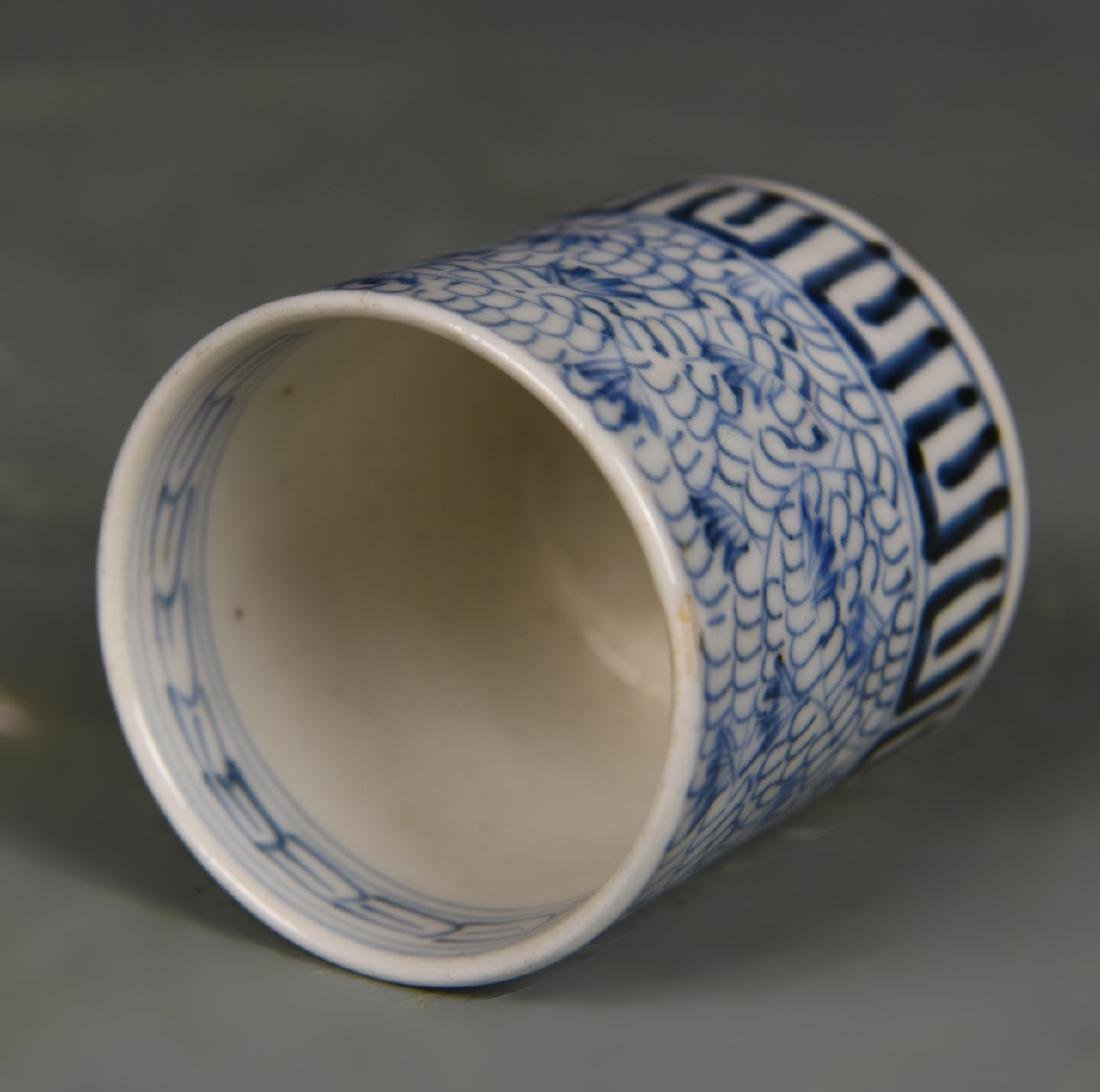 Three Japanese Blue and White Tea Cups - 4