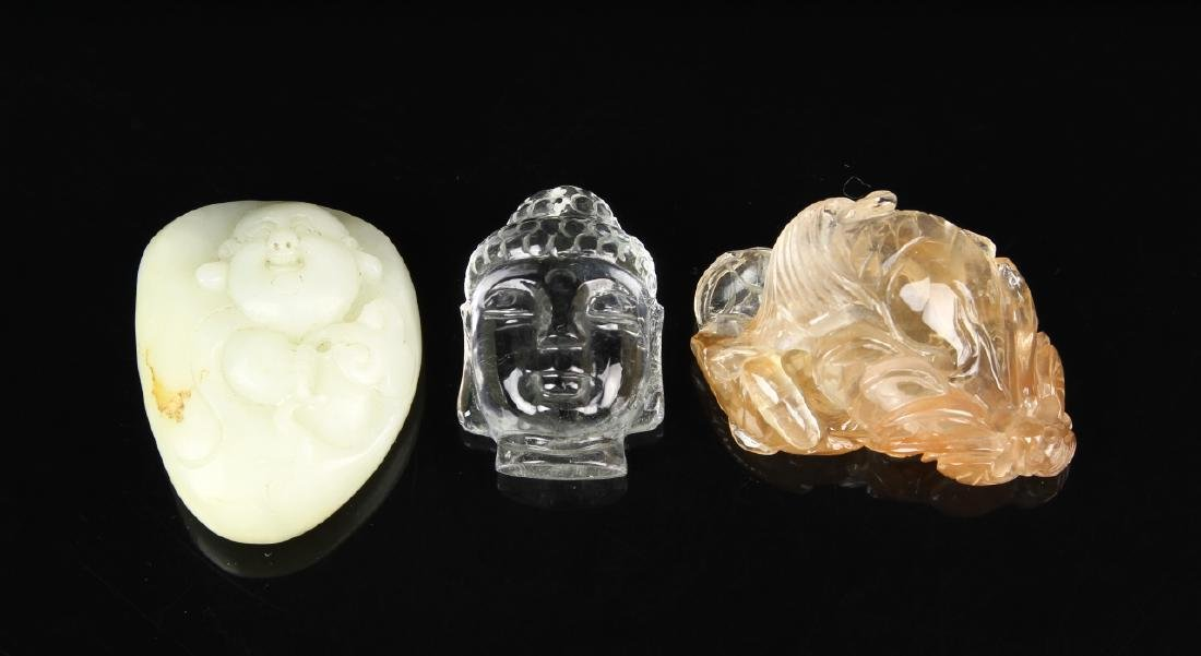 Chinese Crystal Ornaments and Jade Pendant