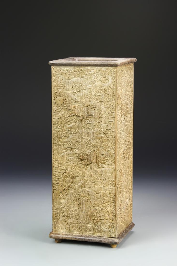 Chinese Hardwood Square Brush Pot
