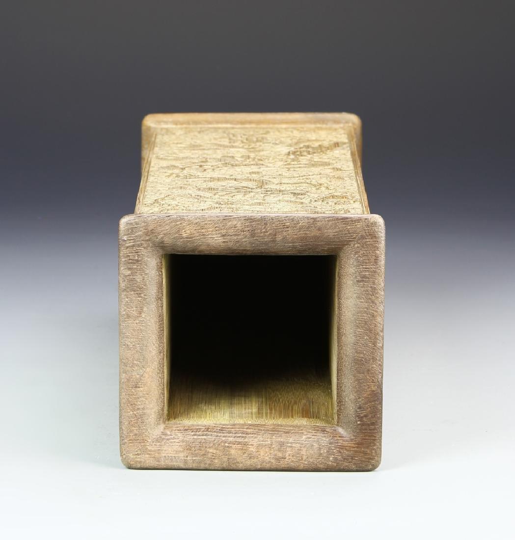 Chinese Hardwood Square Brush Pot - 3