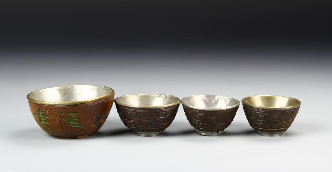 Four Chinese Hardwood and Coconut Bowls - 2