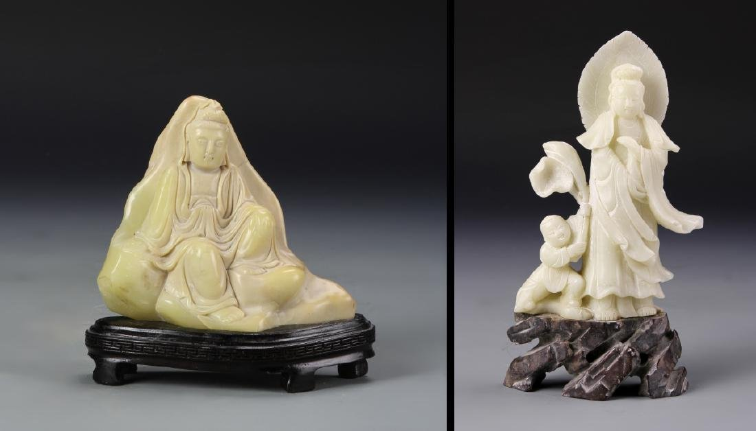 Two Chinese Stone Statue Figures