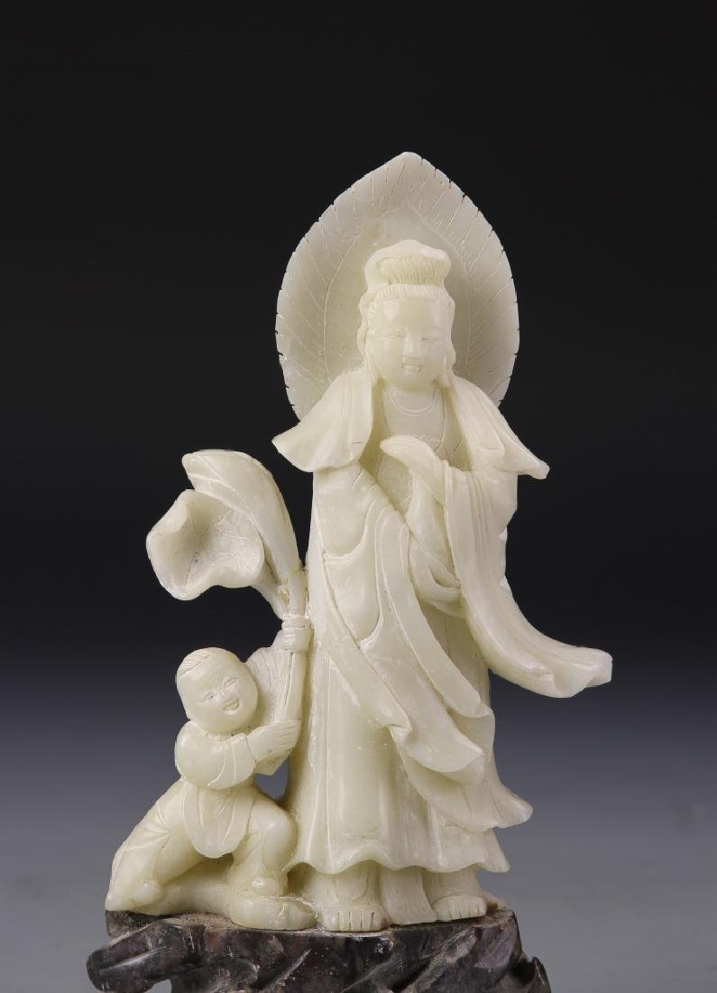 Two Chinese Stone Statue Figures - 7