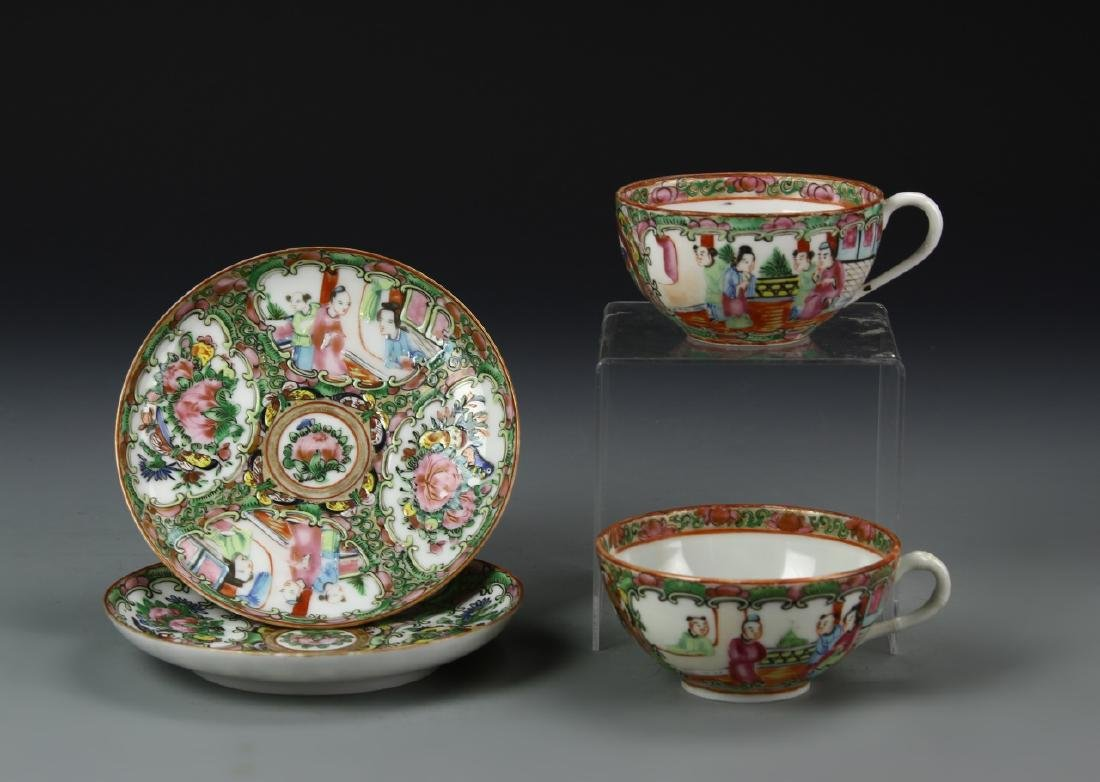 Pair of Chinese Rose Medallion Tea Cups and Dish