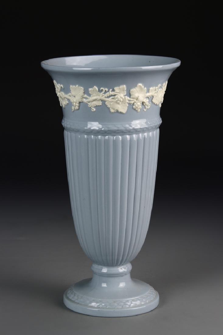 Vintage Blue Ceramic Wedgwood Vase With Decorations