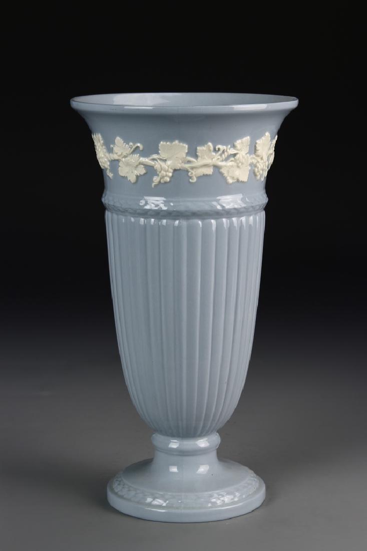 Vintage Blue Ceramic Wedgwood Vase With Decorations - 2