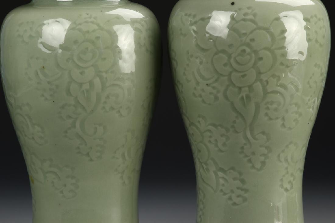 Pair Of Celadon Vases - 2