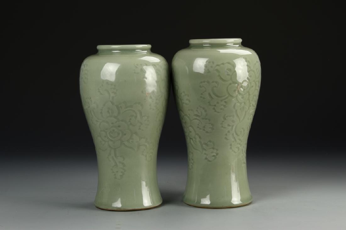 Pair Of Celadon Vases - 3