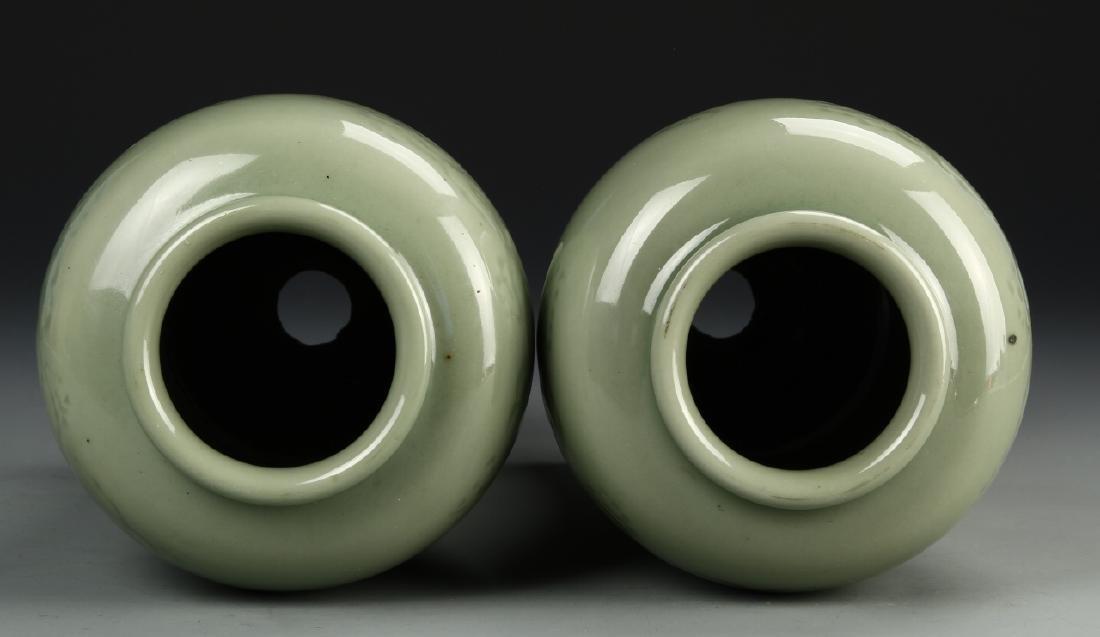 Pair Of Celadon Vases - 4