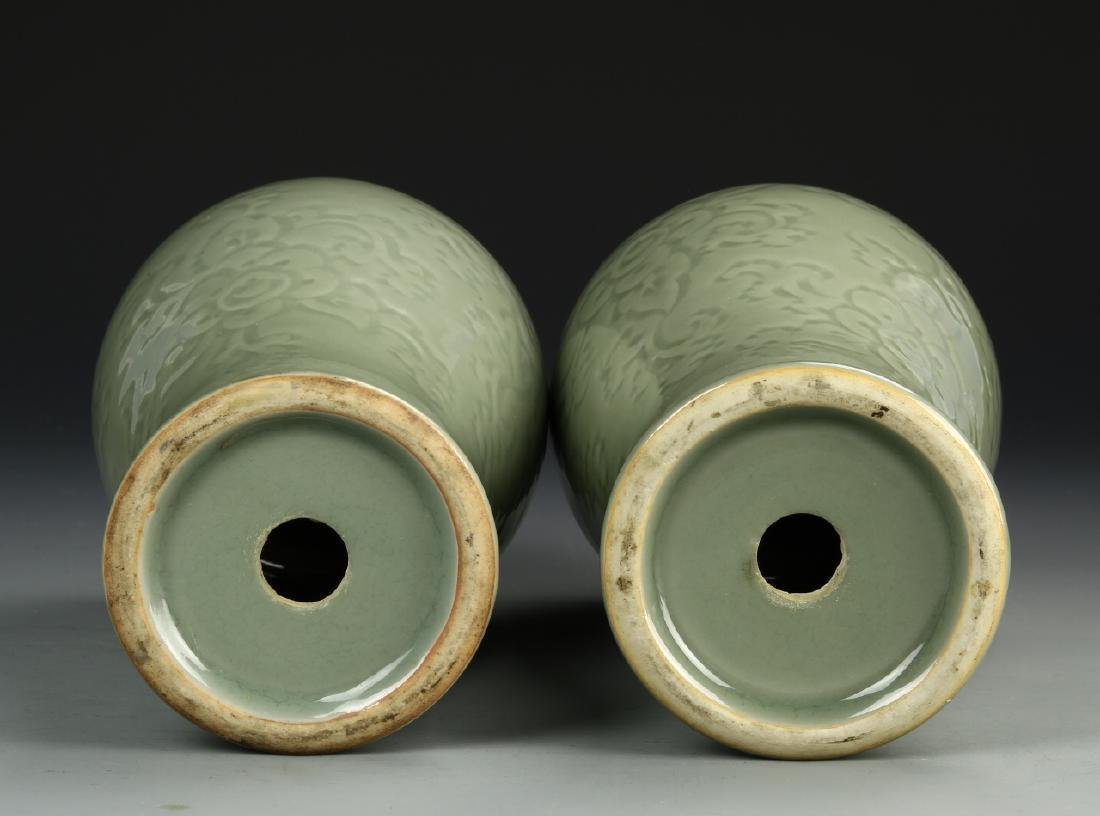 Pair Of Celadon Vases - 5