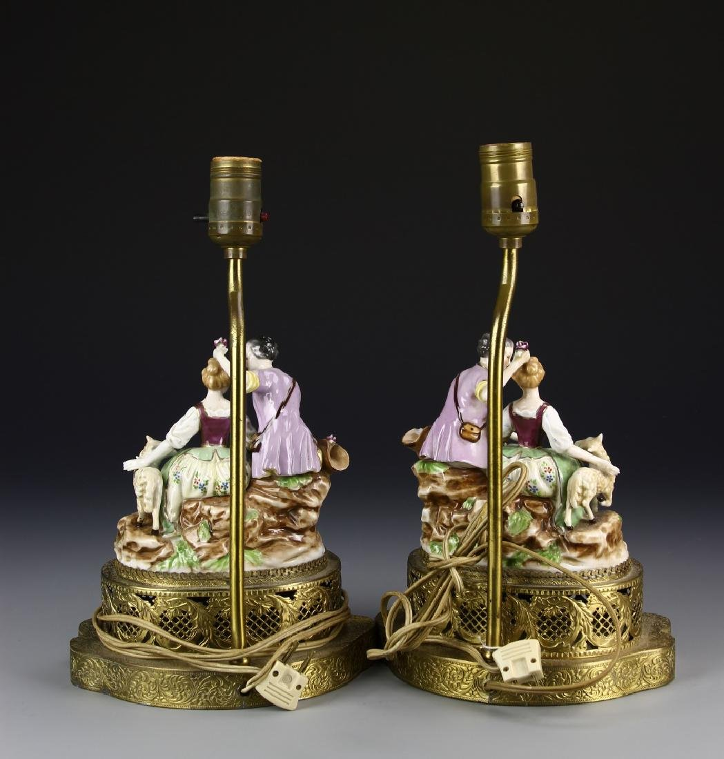 European A Pair Of Porcelain Lady Figures Lamp - 3
