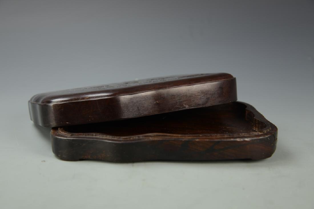 Chinese Hardwood Ink Stone Box - 4