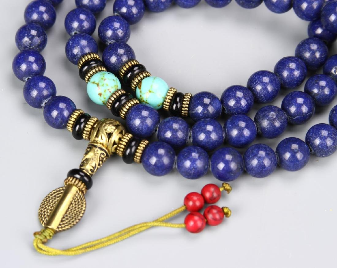 Chinese Lapis Beaded Necklace - 2