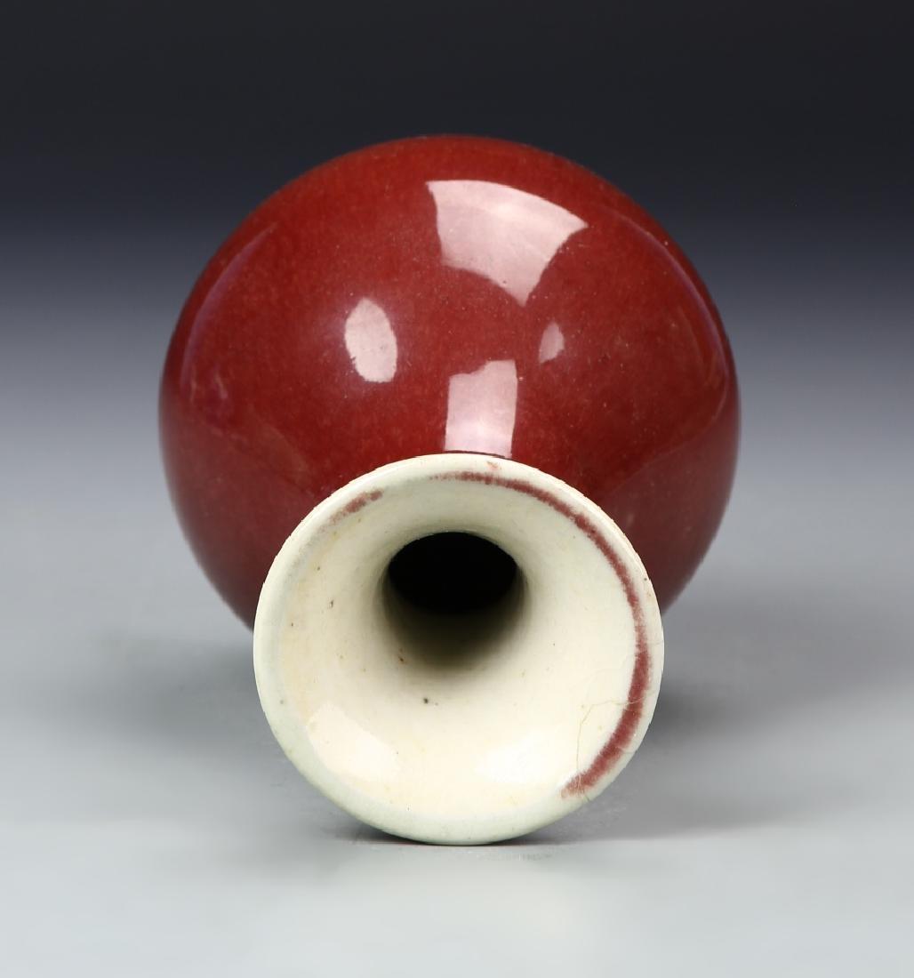 Chinese Oxblood Yuhuchunping Vase - 3