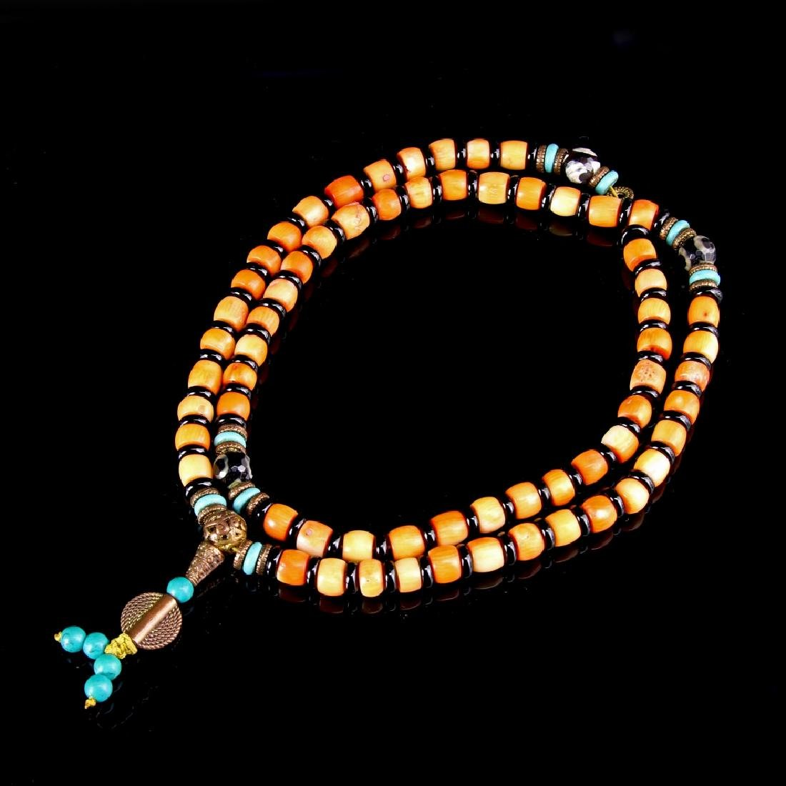 Tibetan Coral Prayer Necklace