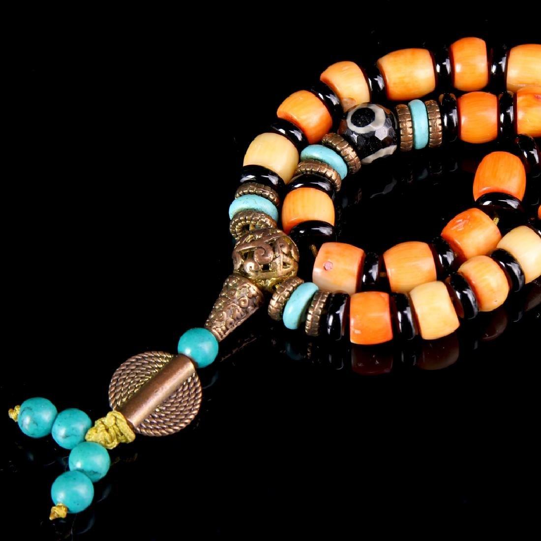 Tibetan Coral Prayer Necklace - 2