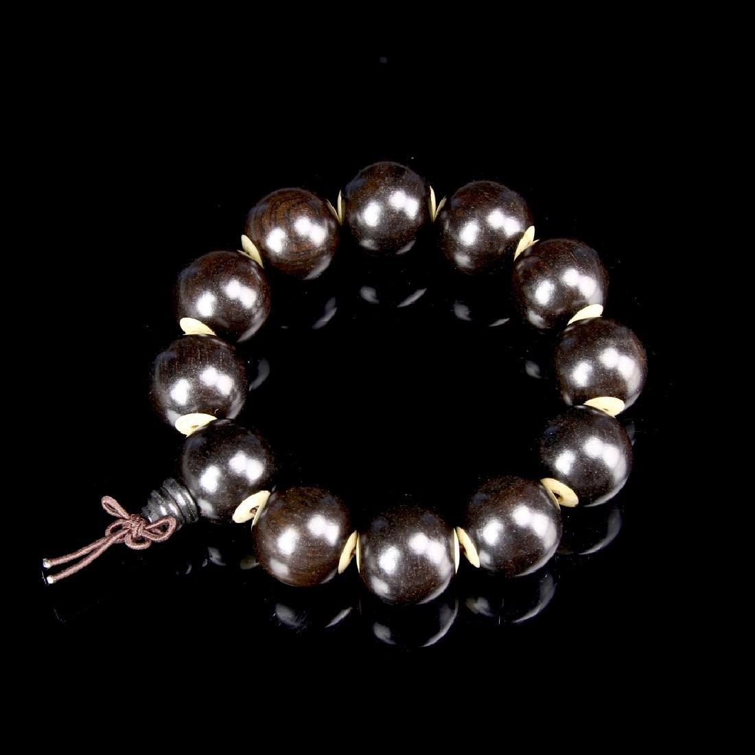 Chinese Black Albany Wood Beaded Bracelet