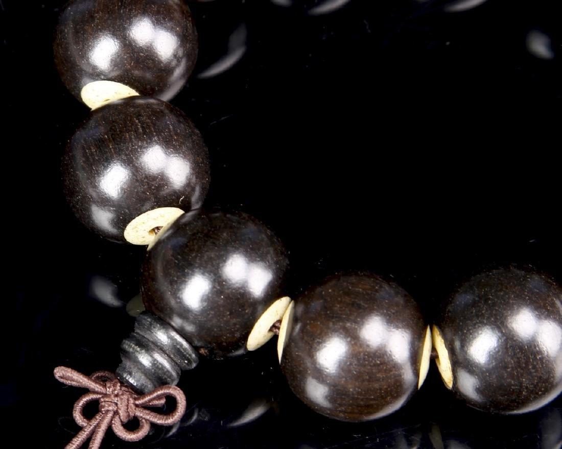 Chinese Black Albany Wood Beaded Bracelet - 2