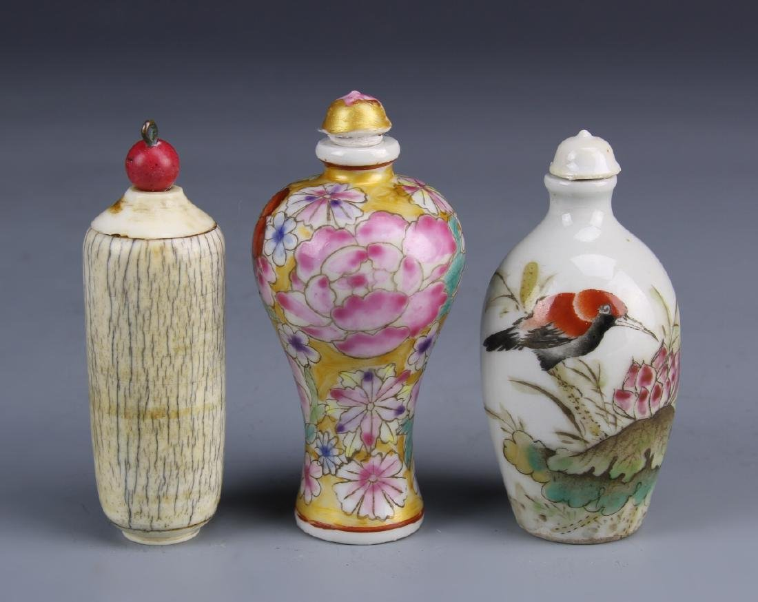 Three Antique Chinese Snuff Bottles