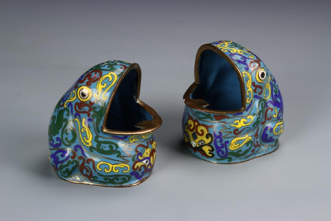 Pair of Chinese Cloisonne Frogs