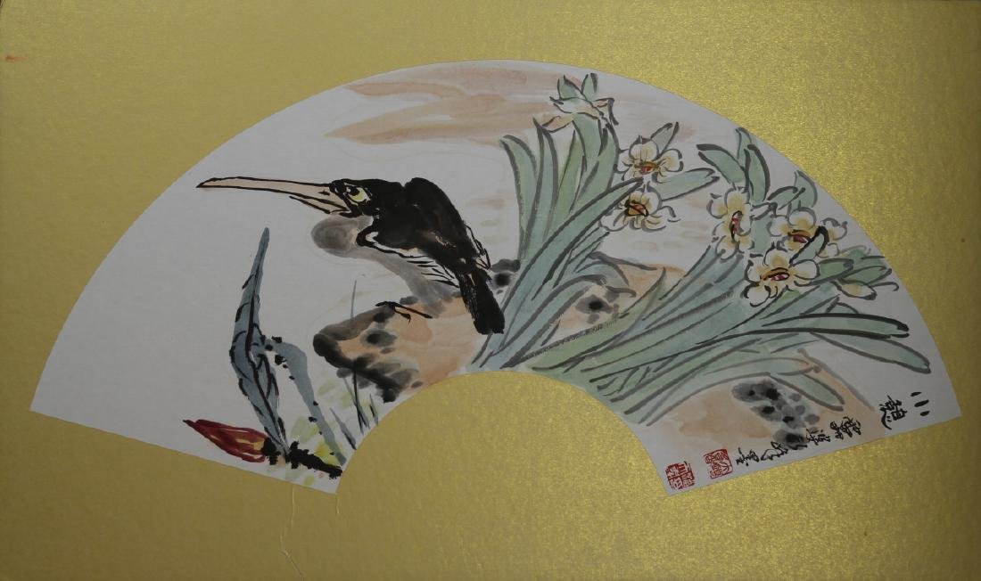 Chinese Fan Painting of a Bird
