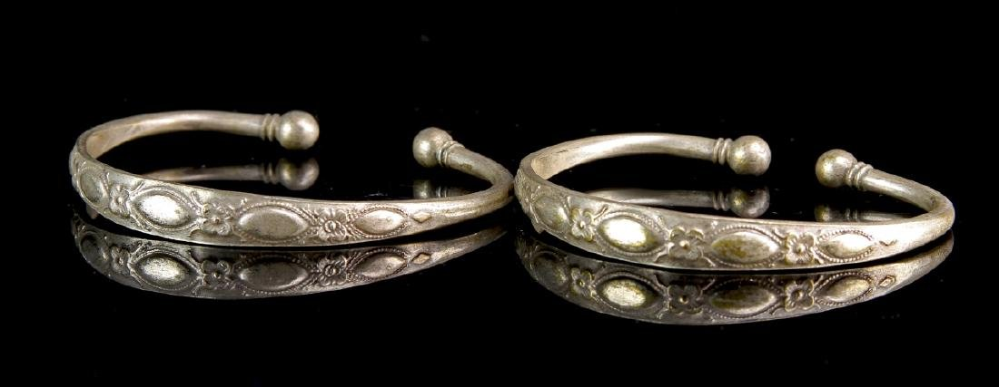 Pair of Chinese Silver Bangles - 2