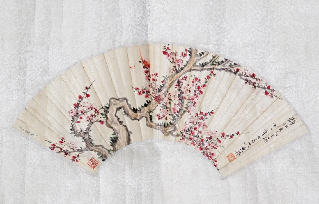 Chinese Fan Painting of Flowers