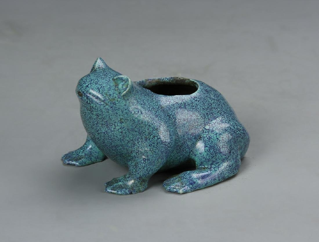 Chinese Turquoise Glazed Frog Water Coup