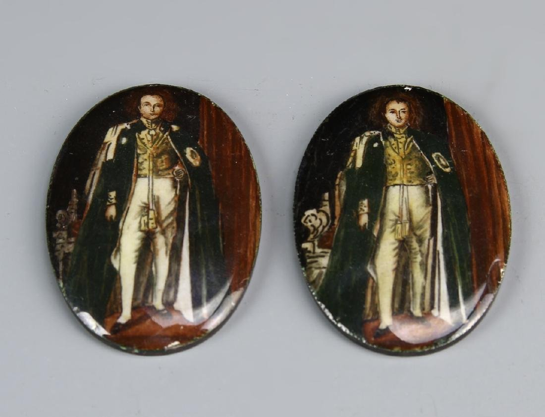 Pair of Indian Enameled Portraits On Silver