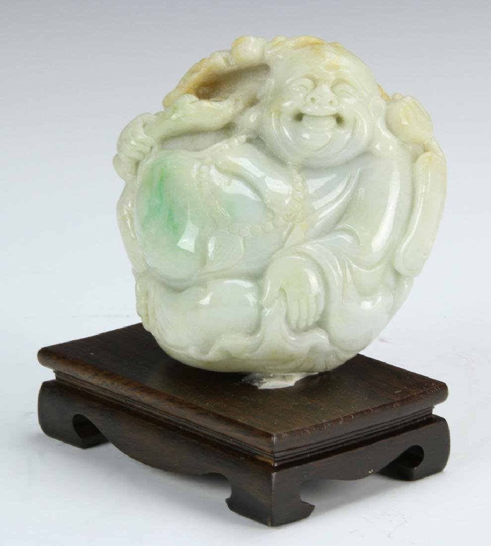 Chinese Carved Jadeite Buddha On Stand