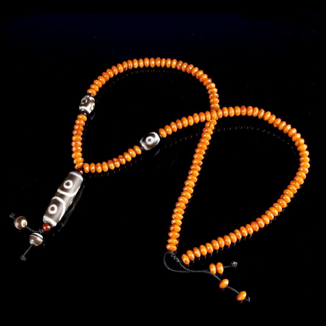 Chinese Tibetan Amber and Zi Bead Necklaces