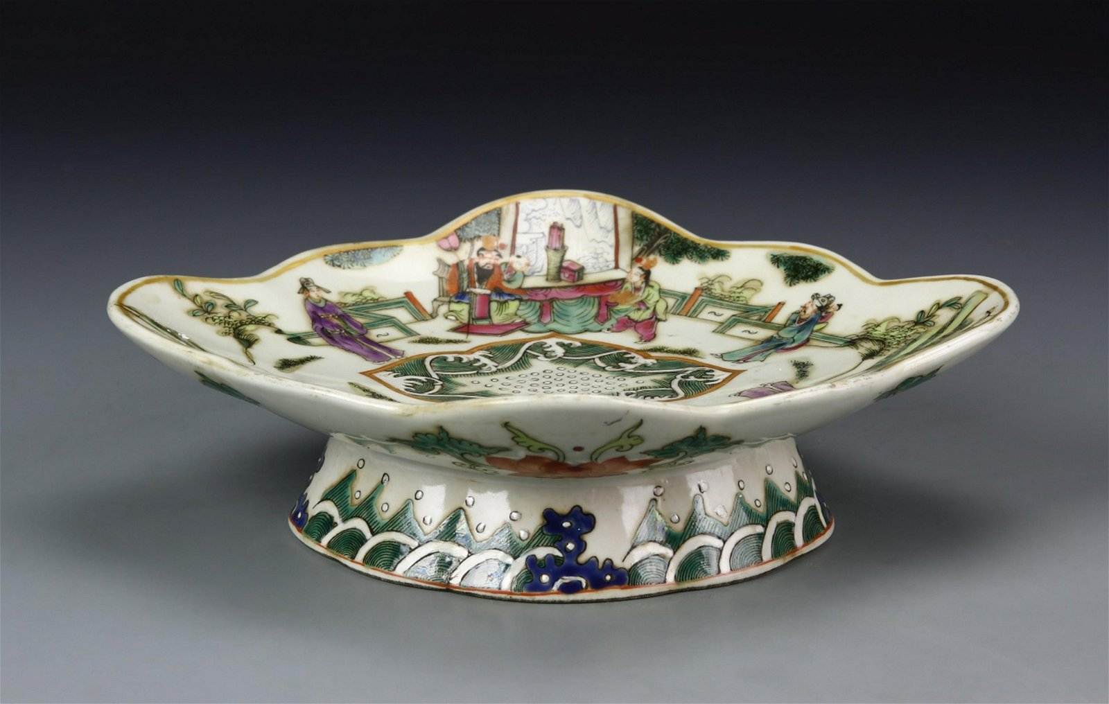 Chinese Export Famille Rose High Stem Plate