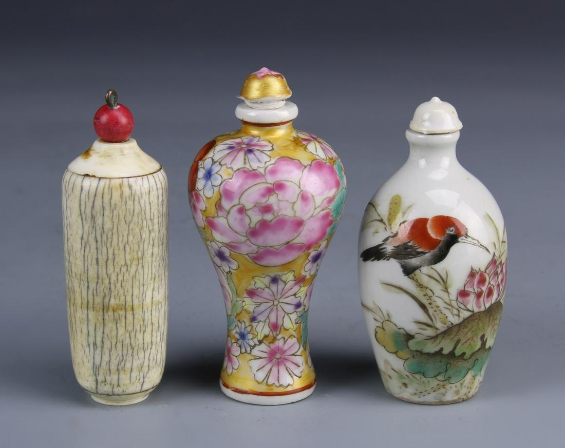 Three Antique Chinese Snuff Bottles