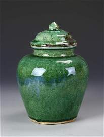 Chinese Green Glazed Jar With Lid
