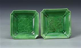 Pair of Chinese Square Dishes
