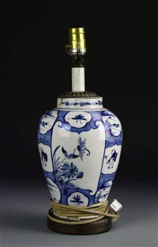 Chinese Blue and White Vase Converted Lamp