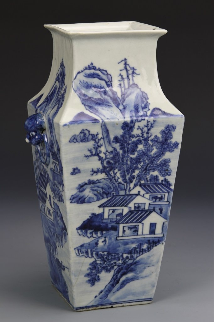 Chinese Blue and White Square Vase