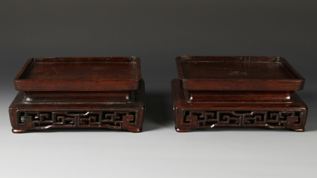 Pair of Chinese Rosewood Square Stands