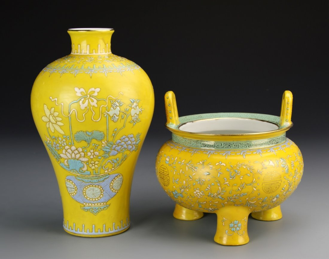 Two Chinese Yellow Glazed Porcelain Pieces