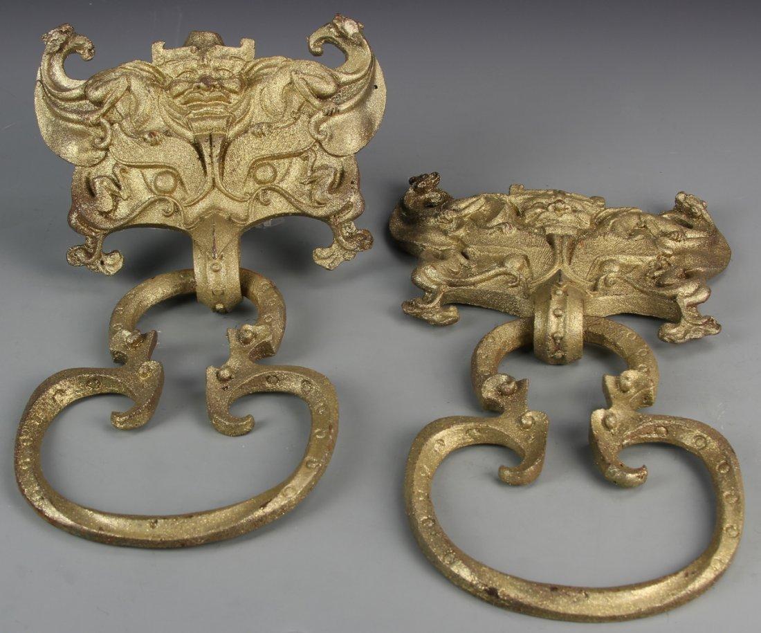 Pair of Chinese Metal Door Bells