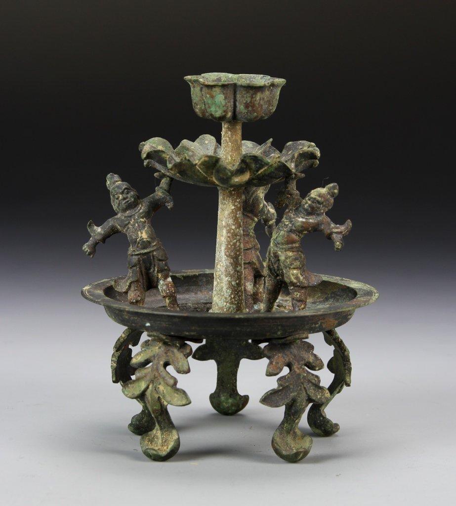 Chinese Bronze Candle Stick