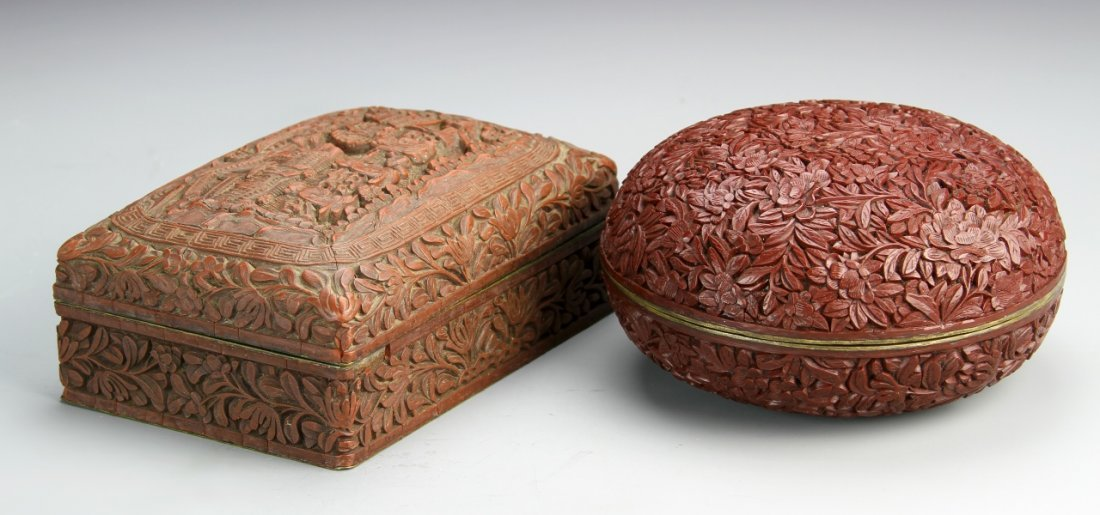 Two Chinese Cinnabar Boxes