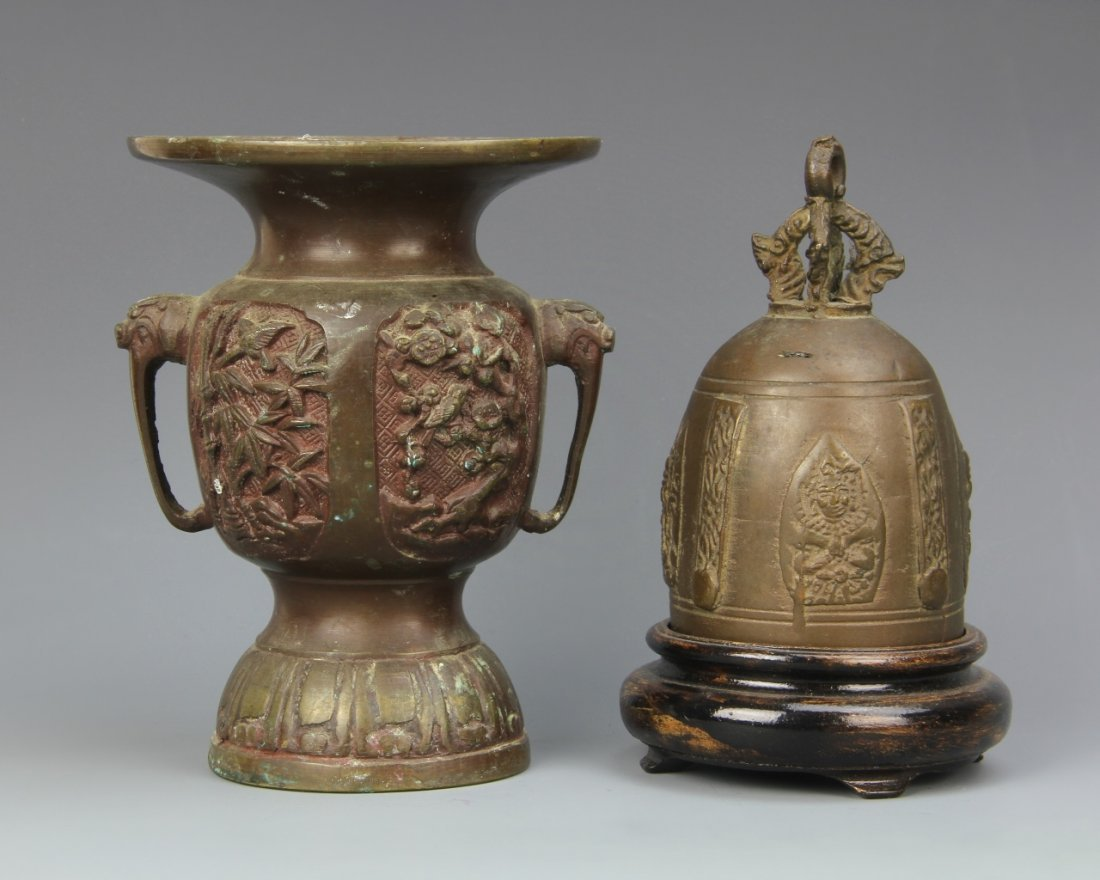 Japanese Bronze Vase and Thai Temple Bell