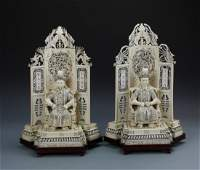 Pair of Chinese Bone Carved Shrines with Figures