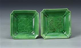 A Pair of Chinese Square Dishes