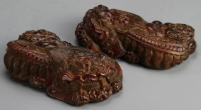 Pair Of Chinese Carved Wood Foo Lions