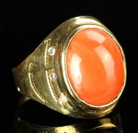 Chinese Coral And Gold Ring