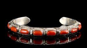Sold Vintage Silver Bangle With Coral Inlays